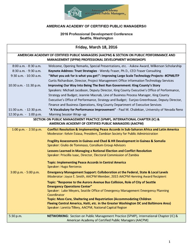 AACPM Conference Schedule Final